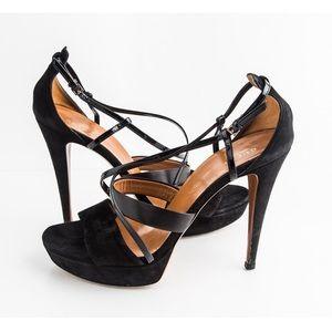 Gucci Black Suede Criss Cross Platform Heels